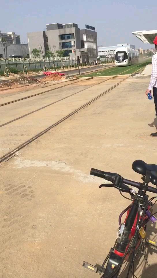 【建设伟大祖国】:武汉光谷有轨电车绿化作业