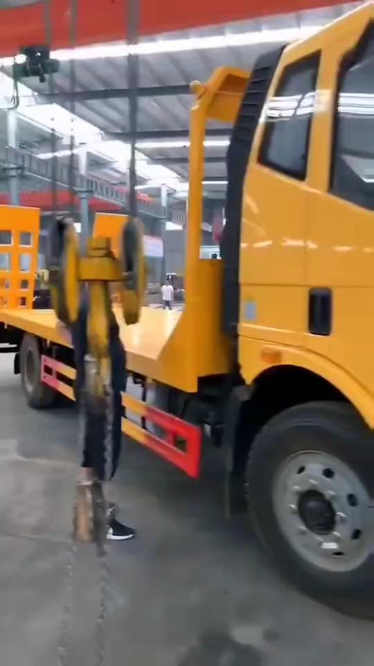 工程黄解放J6拉150挖机平板车